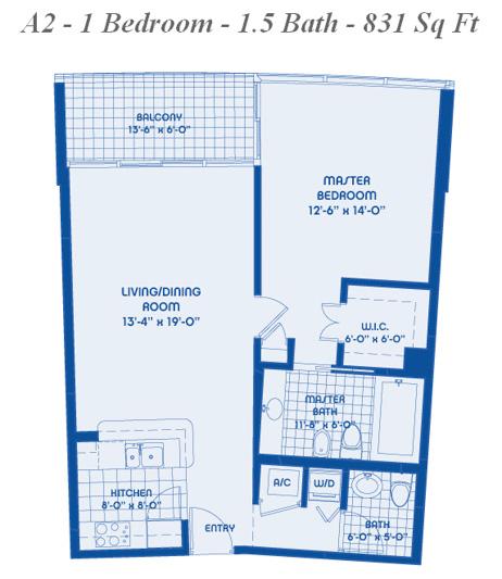 05 line 1 bed 1 5 bath 831 sqft blue condo miami for 1 bed 1 5 bath