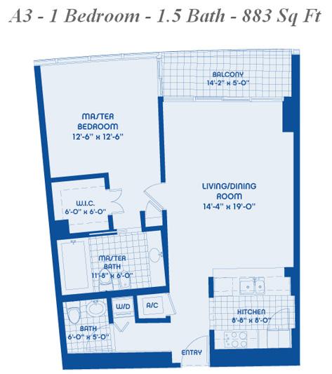 11 line 1 bed 1 5 bath 883 sqft blue condo miami for 1 bed 1 5 bath